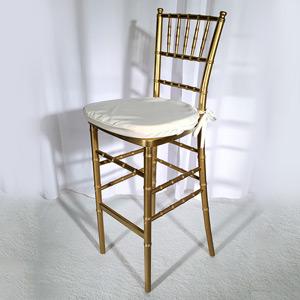 Gold Chiavari Stool (Ivory or White Cushion Included)
